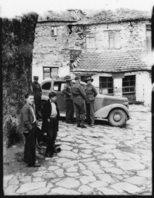 Village scene in Greece during World War II, with Lt Col Twhigg and Australians - Photograph taken by Ian Macphail