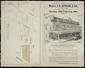 Valuable block of freehold land, having three frontages, with large business premises, nos. 32 and 34 Manners Street, Wellington [cartographic material] : frontages to Manners St., Farish St., and St. Hill St.