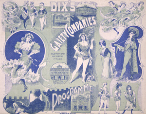 Dix's Gaiety Company :Programme for week ending Friday, December 20, Theatre Royal [Wellington. 1901. Green and blue cover spread].