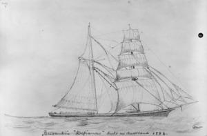 "Munro, John Alexander 1872-1947 :Brigantine ""Defiance"" built in Auckland 1883. [n.d.]"