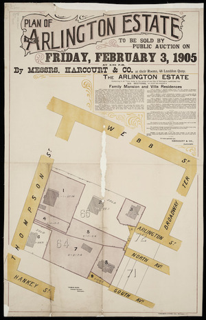 Plan of the Arlington estate [cartographic material] : to be sold by public auction on Friday, February 3, 1905.
