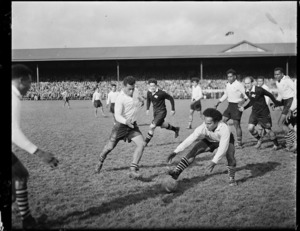 Maori and Fijian rugby teams during a match