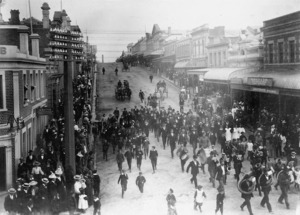 Departure parade of the local volunteers for the First New Zealand Contingent for the South African War, Timaru