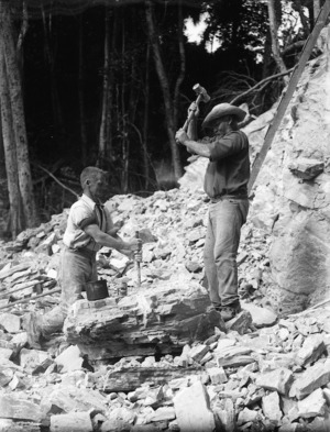 Men spitting limestone by hand, Kaitaia district