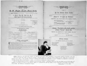 "Wellington Industrial Exhibition 1896-7 :Evening Opening performance. Programme. Part I, by Mr Maughan Barnett's Musical Society. ""Hinemoa"" written by Arthur Adams ... composed and conducted by Alfred F. Hill. Part II, by the Festival Choral Society. 1896."
