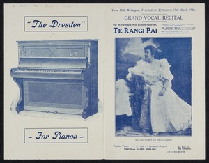 Grand vocal recital, Thursday evening, 15th March, 1906. The world-famed New Zealand contralto Te Rangi Pai. ... Town Hall, Wellington. New Zealand Times, Print [1906. Programme]