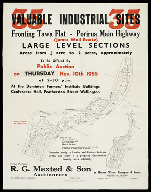 35 valuable industrial sites fronting Tawa Flat-Porirua main highway (James Wall estate) [cartographic material].