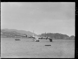 TEAL Solent flying boat Ararangi with missing starboard float after a landing mishap, Evans Bay, Wellington