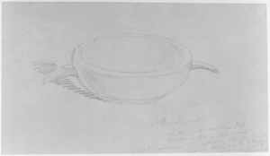 [Angas, George French] 1822-1886 :He kumeti or ancient wooden pot - hot stones put in little water, & food on top cov'd with mats & little earth to keep in steam - to cook kumaras - Otawhao [near Waipa. 1844]