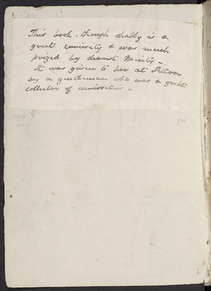 [Author unknown] :This book, though shabby is a great curiosity and was much prized ... [ca 1850?]