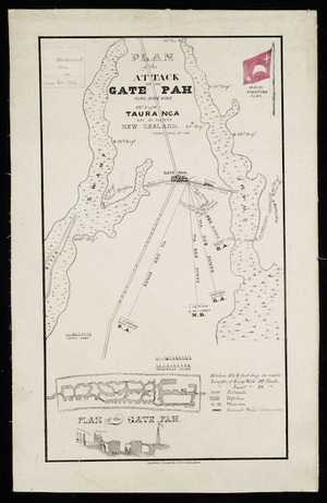 Plan of the attack on the Gate Pah, Puke Hine Hine, Tauranga, Bay of Plenty, New Zealand, Friday April 29th 1864 [cartographic material].