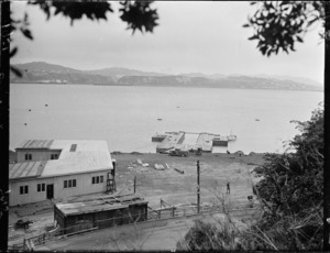 Evans Bay, Wellington, with TEAL flying boat pontoon in place
