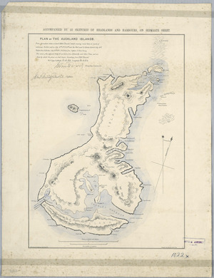Plan of the Auckland Islands [cartographic material] : from observations taken on board HMS Blanche whilst cruising round them in search of castaways ... July ... 1870 / J. Buchanan, draftsman, Geol. Dept. NZ.
