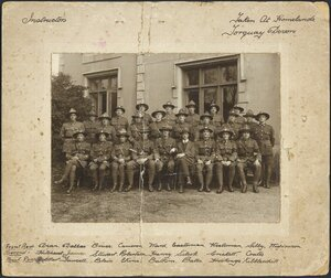 Group portrait of instructors at Homelands, Torquay, England, during World War I