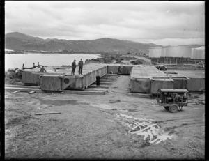 TEAL flying boat pontoon under construction at Gracefield, Lower Hutt