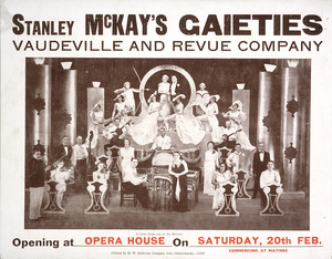 Stanley McKay's Gaieties Vaudeville and Revue Company. A scene from one of the revues. Opening at Opera House on Saturday, 20th Feb[ruary 1937].