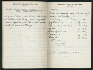 Diary entries for 27-28 August 1933