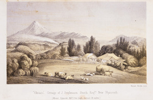 [Smith, Hannah Stephenson] 1813-1891. Attributed works :Okoaro, cottage of J. Stephenson Smith, Esqre, New Plymouth. Mount Egmont 8270 feet high, distant 15 miles. Vincent Brooks lith. [London, Stanford, 1857]