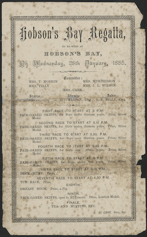Hobson's Bay Regatta to be held at Hobson's Bay on Wednesday 28th January 1885. [Programme]