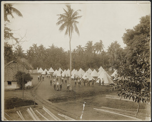 Camp of New Zealand railway engineers, Apia, Samoa - Photograph taken by Alfred John Tattersall