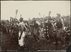 King Tawhiao's soldiers performing at his tangi - Photograph taken by Enos Pegler