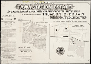 Plan of Tawa station estate ... [cartographic material] / Seaton & Sladden, surveyors.