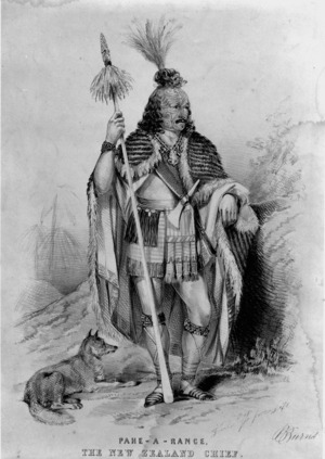 Sutcliffe, J, fl 1840s-1850s :Pahe-A-Rance, the New Zealand chief. B Burns. [Drawn] from life [by] J. Sutcliffe. York, Printed by W. Monkhouse, [1849 or 1850?].