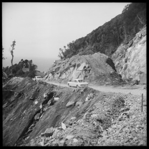 Cars on the new Haast Road, Westland, New Zealand