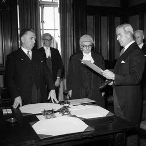 Sid Holland and administrator [Sir Harold Eric] Barrowclough, August 1957