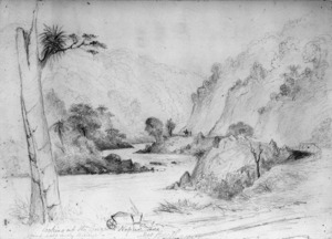 Swainson, Lucelle Frances, 1842-1910 :Looking up the gorge to Napier side, about half way through. Mrs Beetham. [1876?]