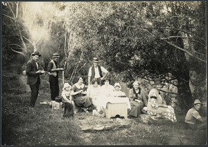 Group of adults and children, Mokau River