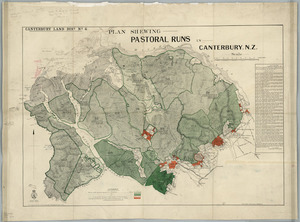 Plan shewing pastoral runs in Canterbury, N.Z. [cartographic material] / John H. Baker, Chief Surveyor, Christchurch.
