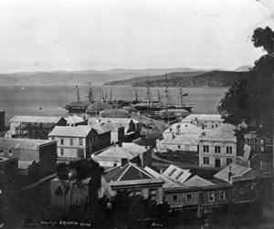 Clift, Charles W : Looking over Grey Street, towards Queens Wharf, Wellington
