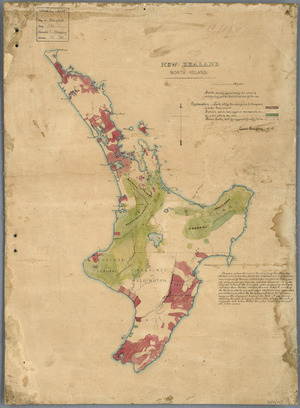 North Island ... sketch showing approximately the extent of white territory, and the districts which have fed the war ... [cartographic material] / [by] Charles Heaphy.