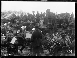 A brass band playing at the New Zealand Rifle Brigade's camp near Ypres, World War I