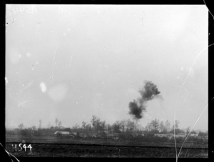 A 5.9 shell bursts close to the reserve line near Courcelles, World War I
