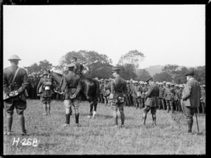 Major-General Russell and Sir Thomas MacKenzie at a troop inspection in France during World War I