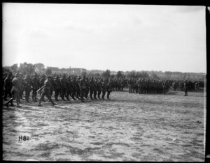General Russell inspects troops at various camps