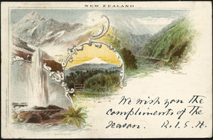 [New Zealand Post Office] :New Zealand. Mt Cook, Otira Gorge, Mt Egmont, Waikite Geyser. [Printed by] Waterlow & Sons Limited, London Wall, London, 1897.
