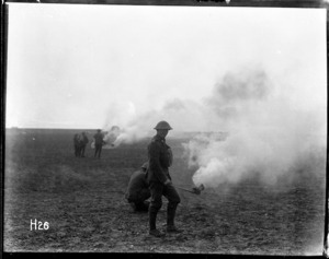 New Zealand troops practising a smoke attack