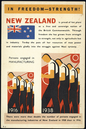 Postcard. In freedom - strength! Persons engaged in manufacturing. R.J. 51-761 [ca 1939]