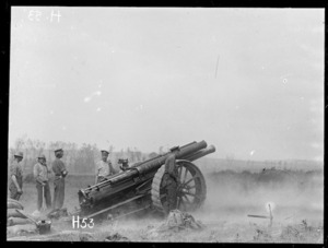 New Zealand gun 'Alice' in action during the Battle of Messines