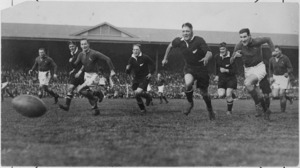 Rugby match between the All Blacks and the Springboks, 1st test match, 1937, Athletic Park, Wellington - Photograph taken by Charles Percy Samuel Boyer