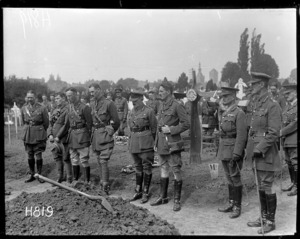 New Zealand officers at a military funeral, Bailleul, World War I