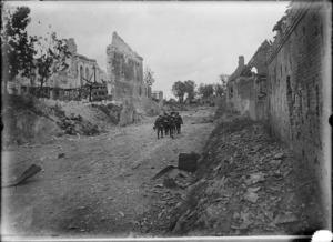 New Zealanders advancing through the recaptured village of Fremicourt, World War I