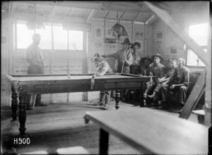 The billiard room at the Manawatu, the YMCA hut at the New Zealand Stationary Hospital, Wisques