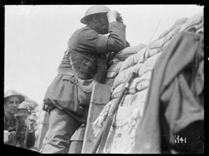 A World War I Brigade Commander looks at the German line near Messines