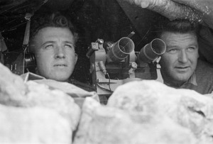 World War II soldiers from New Zealand looking out from a forward observation post in the Cassino area, Italy - Photograph taken by George Kaye