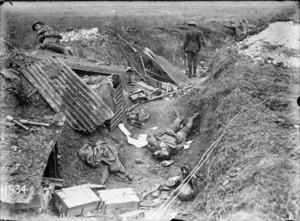Captured World War I German machine gun position, Grevillers, France