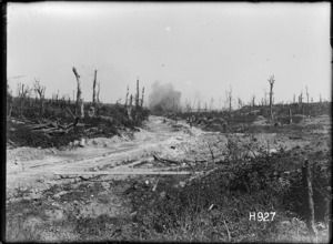 A German shell bursting on the road, Puisieux, France